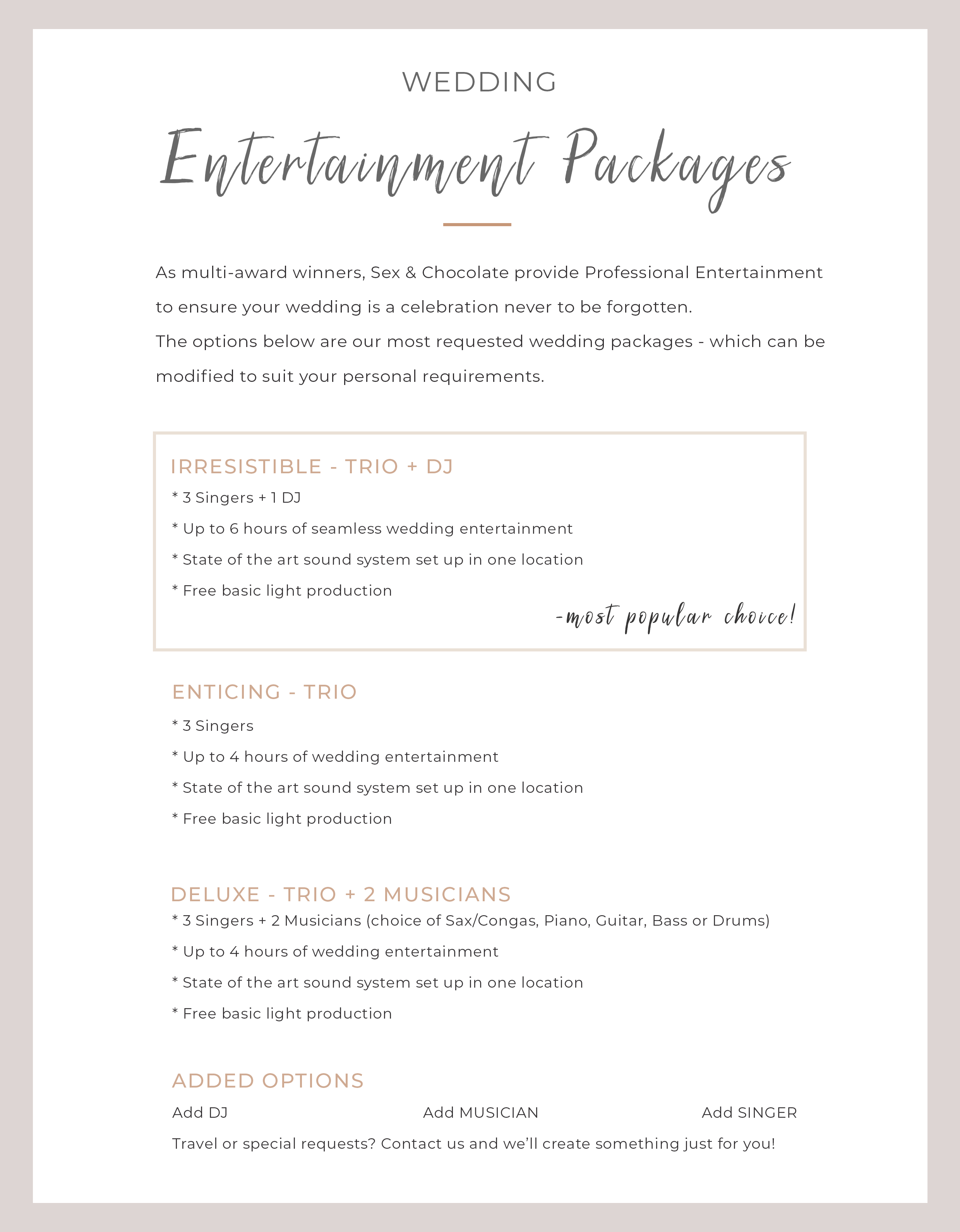 WEBSITE packages - Sex and Chocolate Wedding Entertainment Brochure medium bold